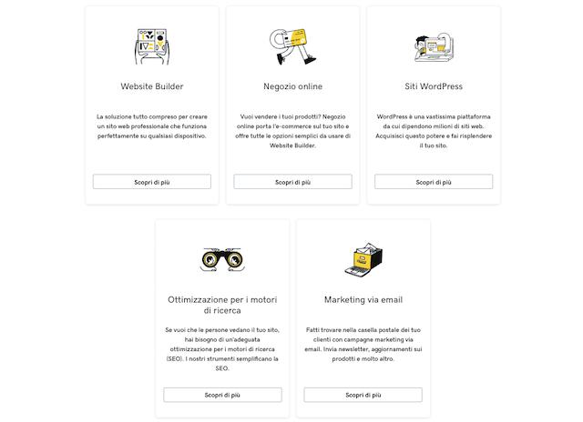 Siti web + marketing di GoDaddy: le funzioni
