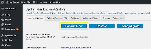 Backup sito wordpress con plugin
