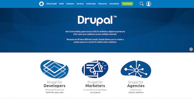 Homepage del CMS Drupal