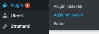 Installare plugin wordpress: aggiungi nuovo