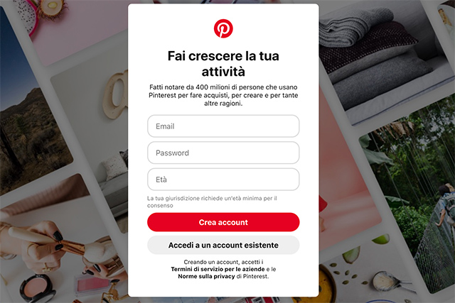 Come creare un account su Pinterest