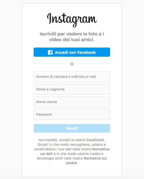 Registrazione profilo aziendale instagram