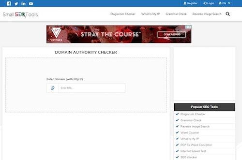 Domain authority checker: Small SEO Tools