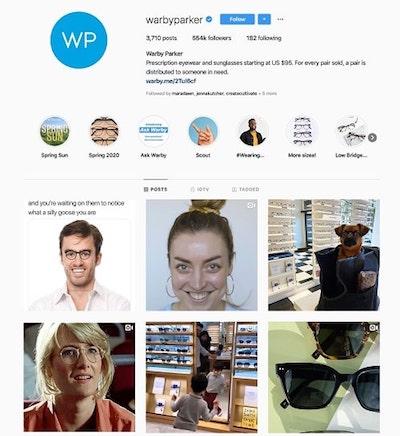 Strategia marketing instagram: esempio walby parker