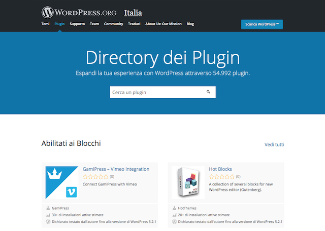 Installare plugin wordpress: directory dei plugin wordpress