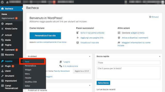 Come installare un tema su WordPress: bacheca