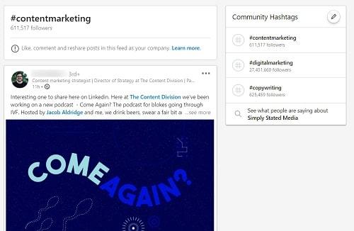 LinkedIn per aziende: esempio di hashtag