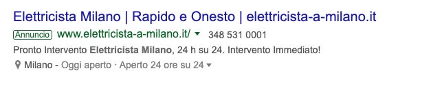 Local search: risultati a pagamento (photo credits: google.com