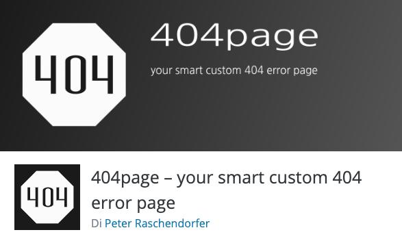 Pagina errore 404 personalizzata: plugin 404 page per WordPress