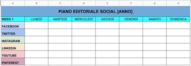 Template di piano editoriale social