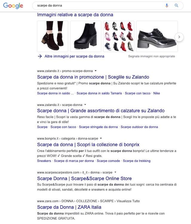 SEO per ecommerce: esempio di ricerca