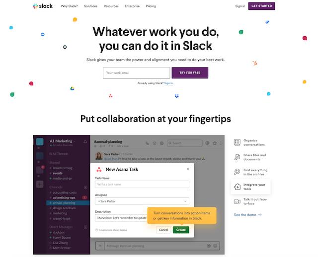 Value proposition: esempio di Slack (image credits: slack.com)
