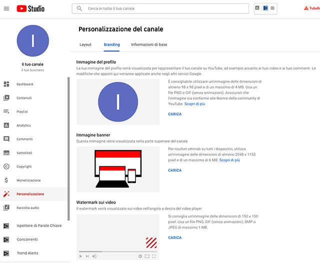 Come aprire un canale YouTube: personalizzazione