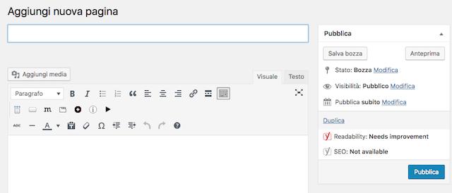 Aggiungere blog a sito wordpress: crea nuova pagina