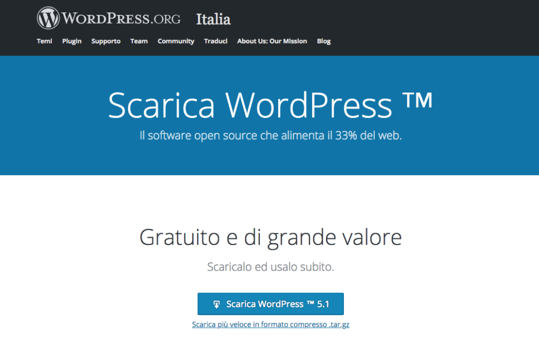 Pagina per scaricare WordPress su https://it.wordpress.org