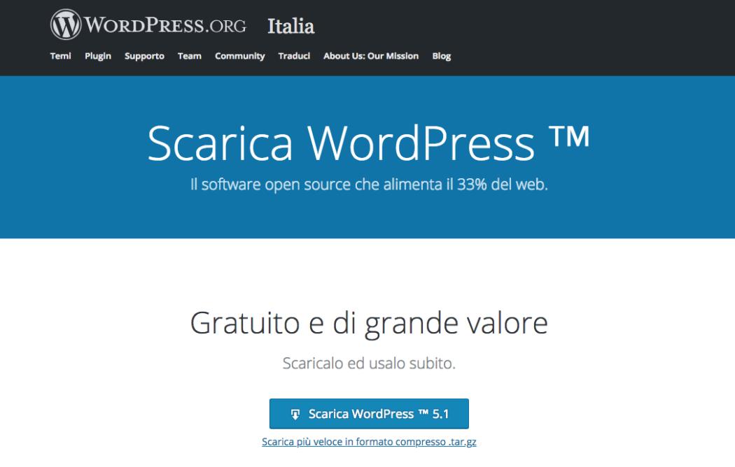 Pagina per scaricare WordPress su https://it.wordpress.org