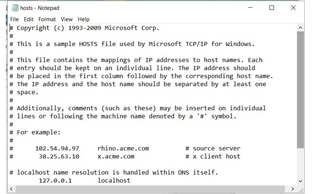 Modificare file host su Windows: Notepad