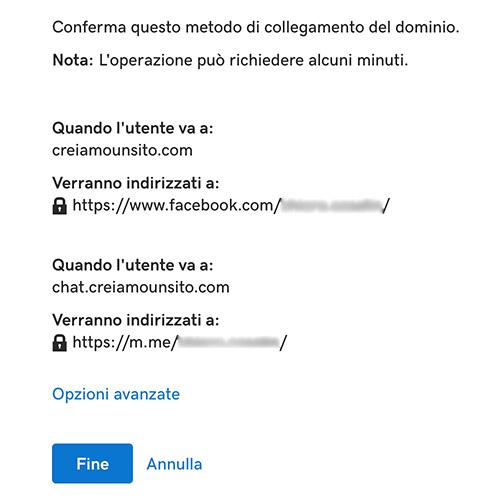Connettere sito a Facebook con GoDaddy: URL