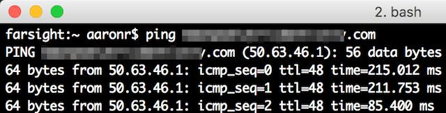 Come trovare info dominio: ping