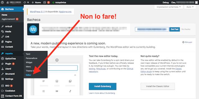 Come modificare tema wordpress: evitare editor