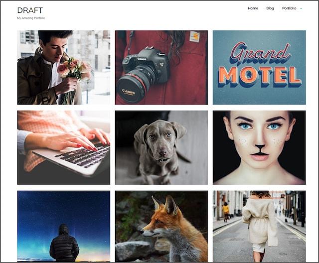Creare un sito portfolio wordpress: tema draft