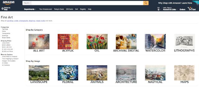 Vendere su internet oggetti fatti a mano: Amazon Art www.amazon.com