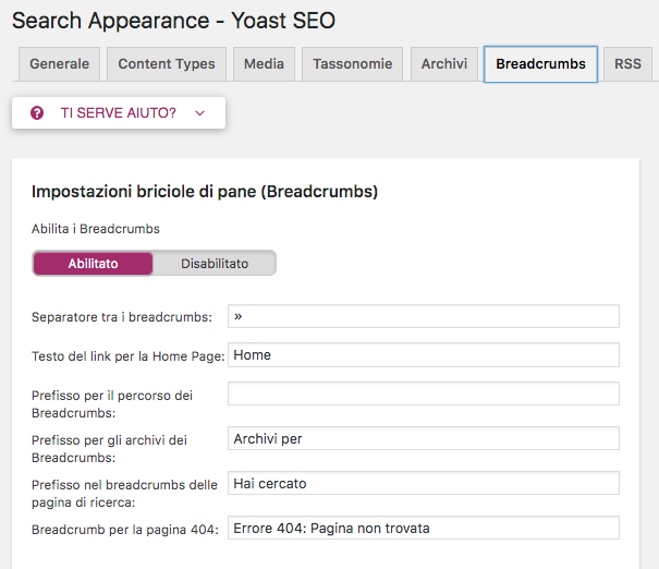 Configurare YOAST SEO WordPress: breadcrumbs