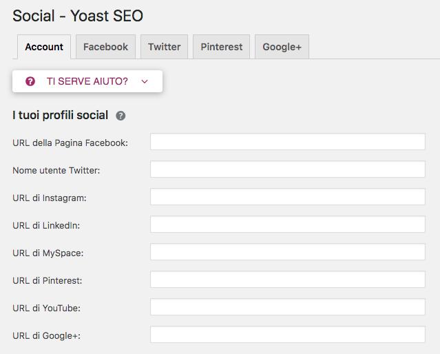 Yoast SEO WordPress: configurare i social
